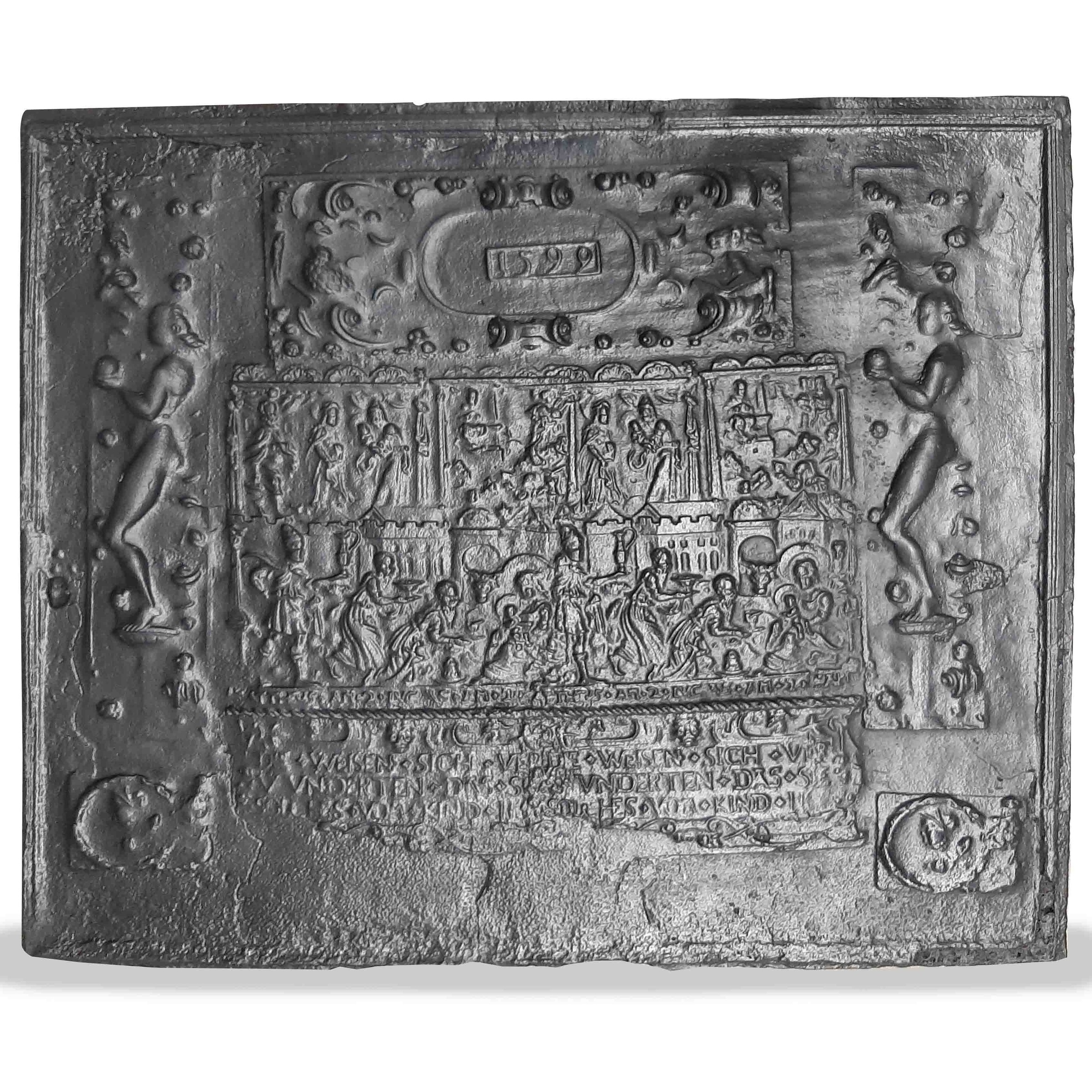 Antieke 16e eeuwse haardplaat met daarop de geboorte van Christus afgebeeld