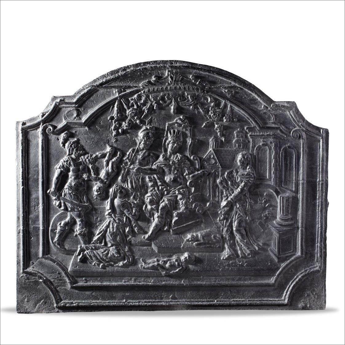 Antieke 17de eeuwse haardplaat met een voorstelling van De Kindermoord