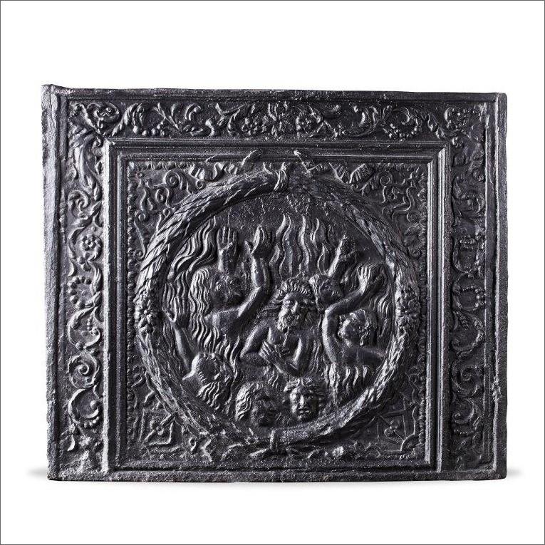 Antieke haardplaat gedateerd 1678 met een voorstelling van het hellevuur