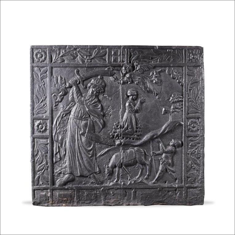 Antieke haardplaat met een voorstelling van het Offer van Isaak, circa 1600