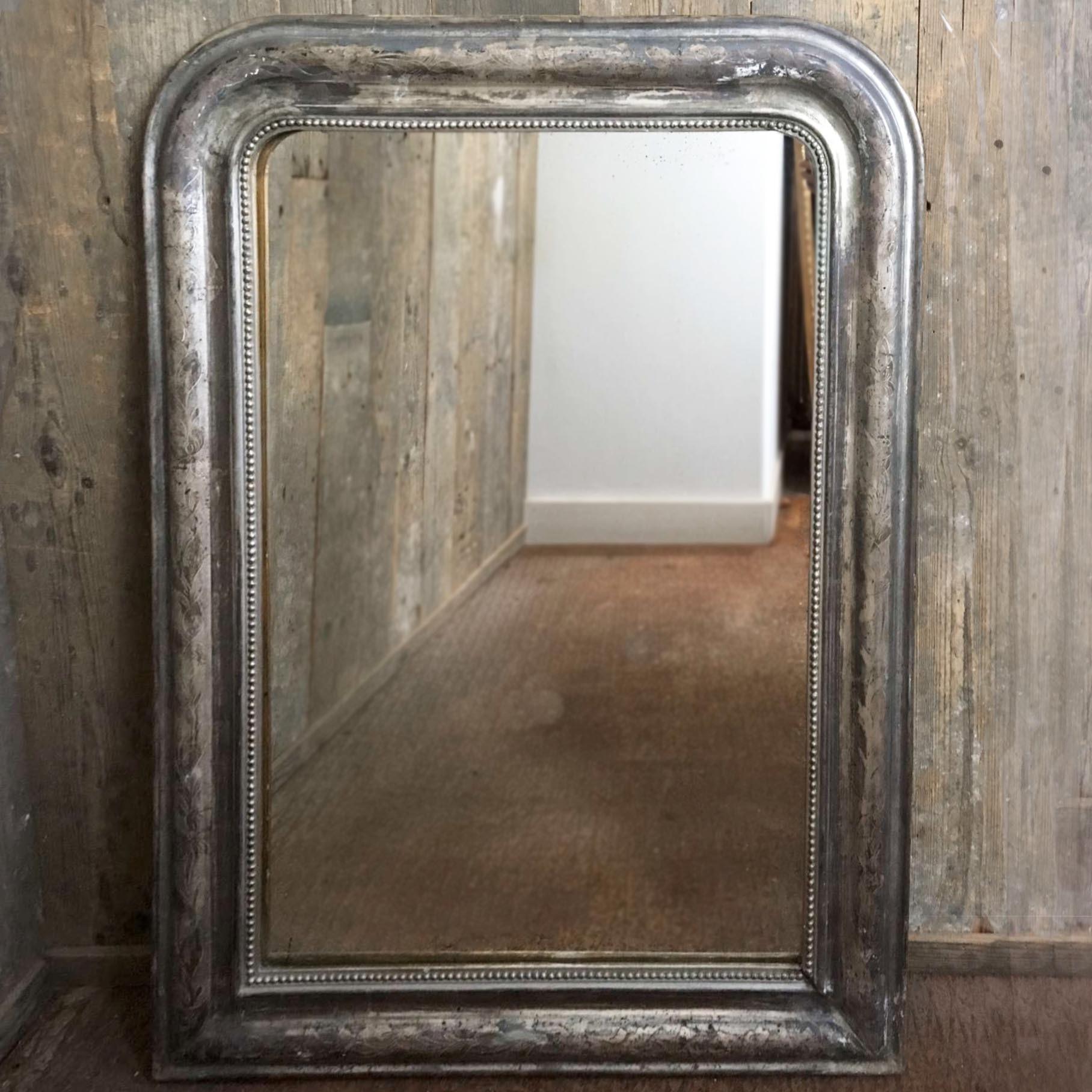 Antieke verzilverde Franse spiegel