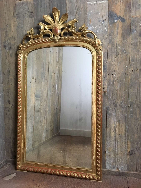 Antieke rijk bewerkte vergulde spiegel