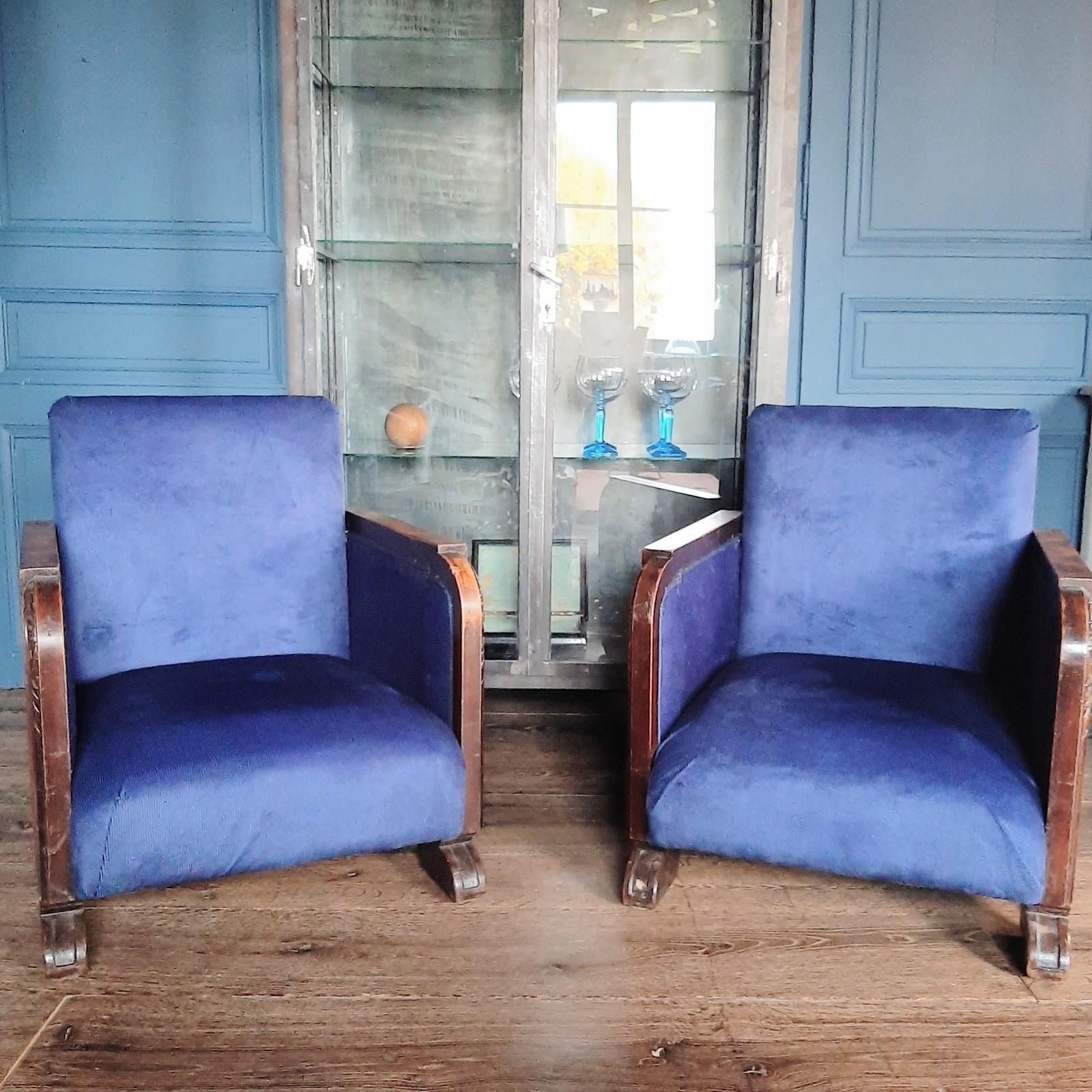 Stel Art Deco fauteuils met blauw ribfluweel, jaren 20