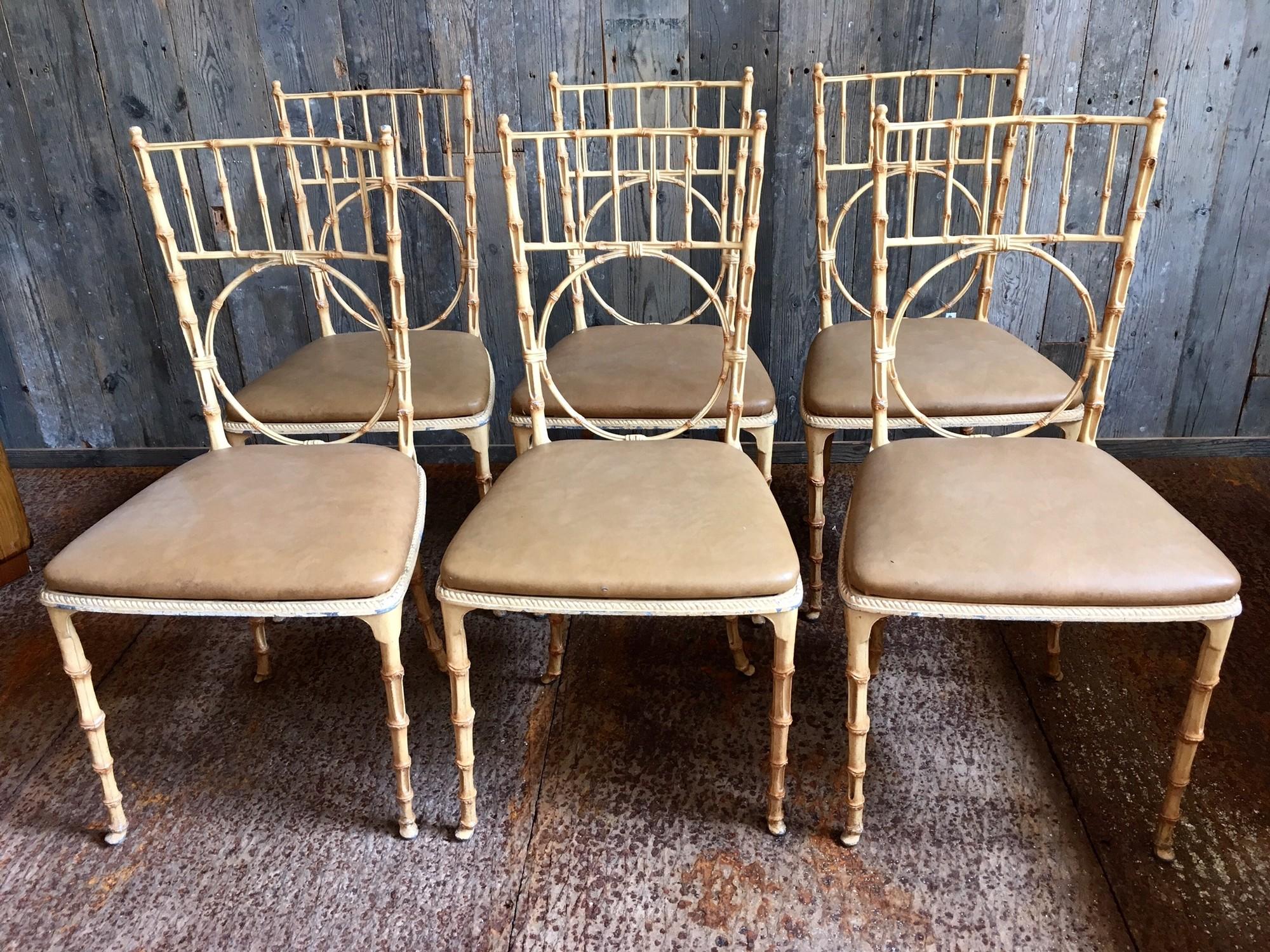 Faux bamboo metalen stoeltjes
