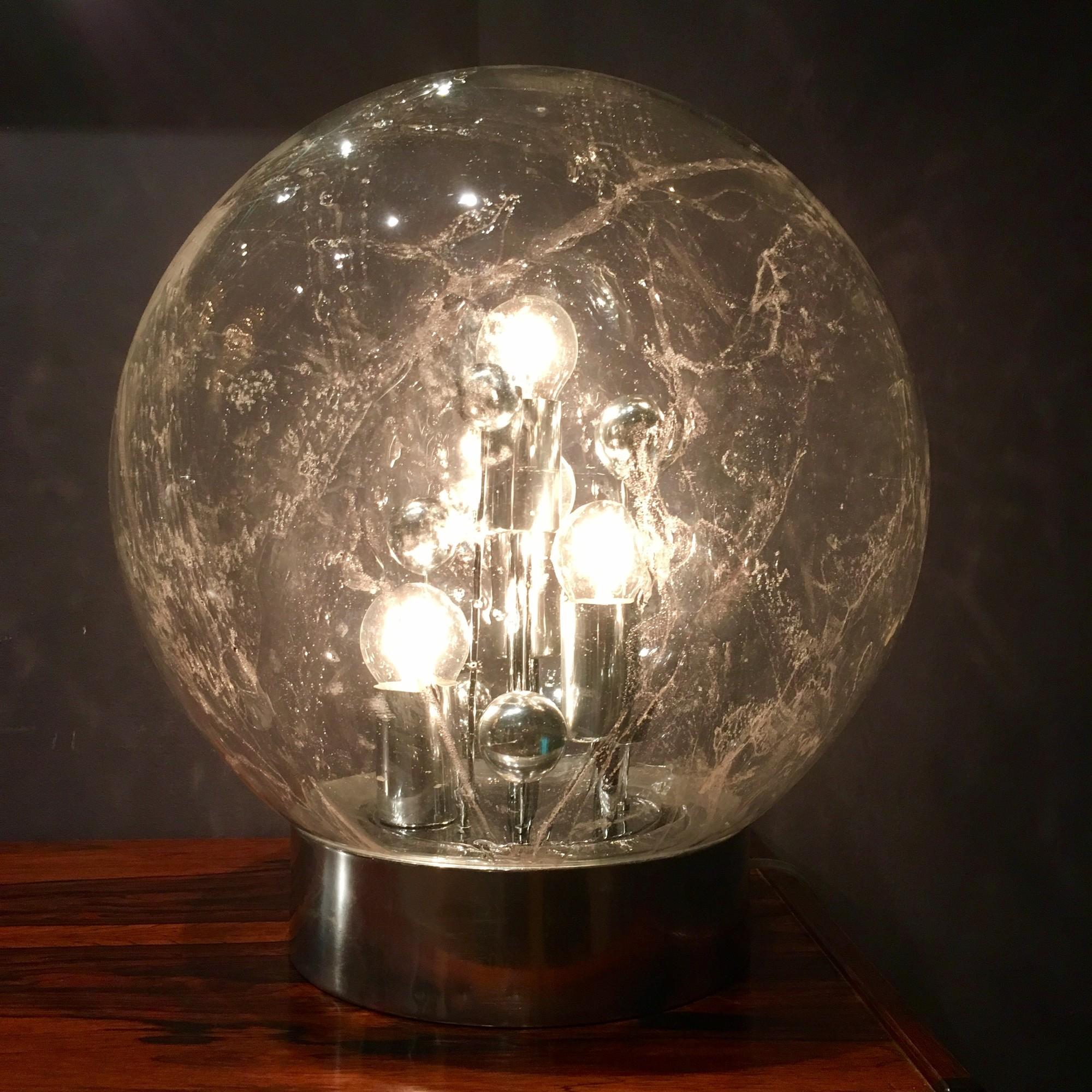 Jaren '70 handgeblazen globe lamp door Doria