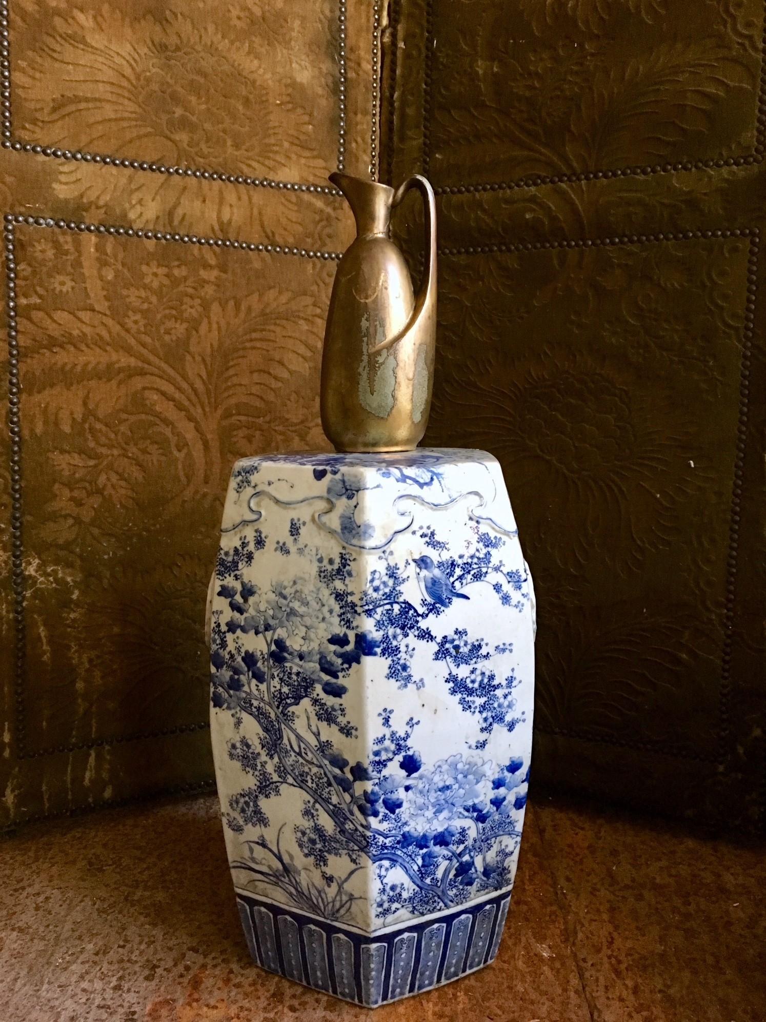 Vintage keramiek chinoiserie krukje