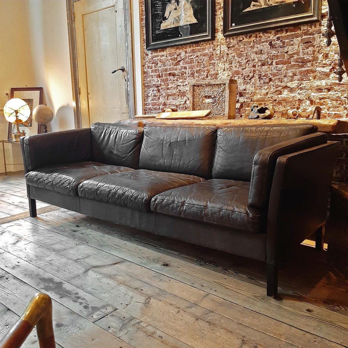 Vintage Bruin Leren Bank.Oude Vintage Bruin Lederen Bank Piet Jonker