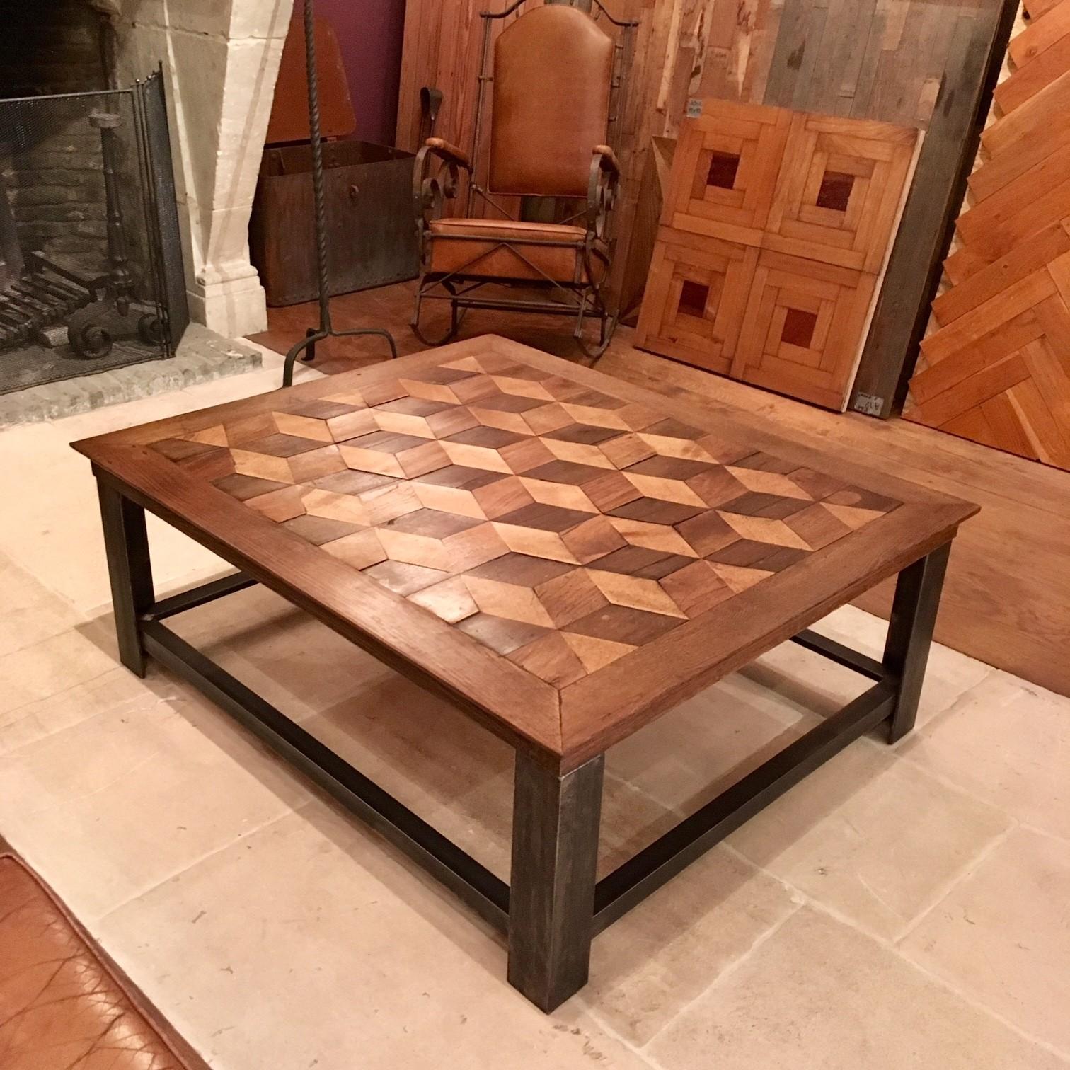 """Prachtige salontafel ingelegd met een """"Escher"""" motief"""