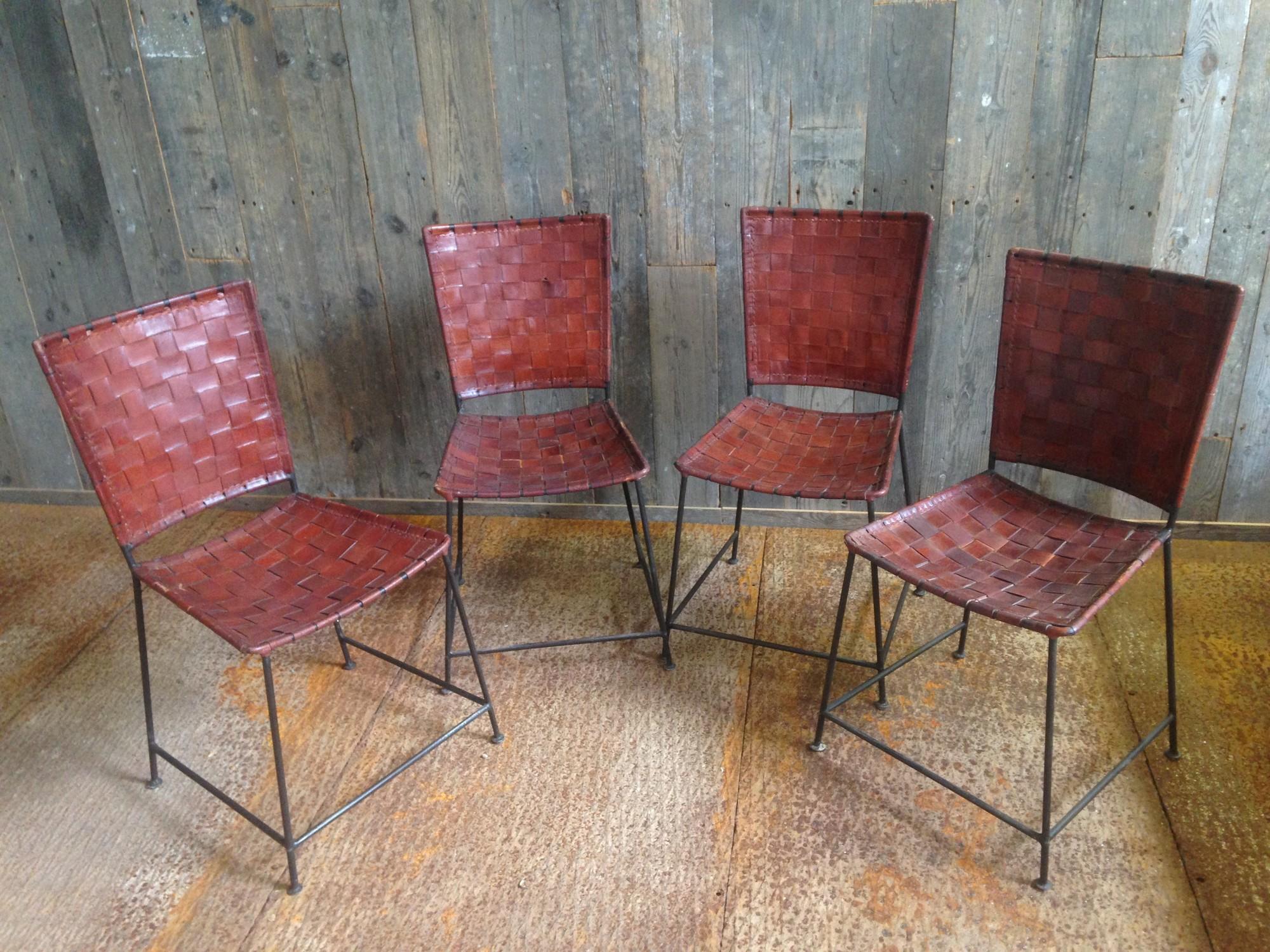 Vintage stoelen met gevlochten leer