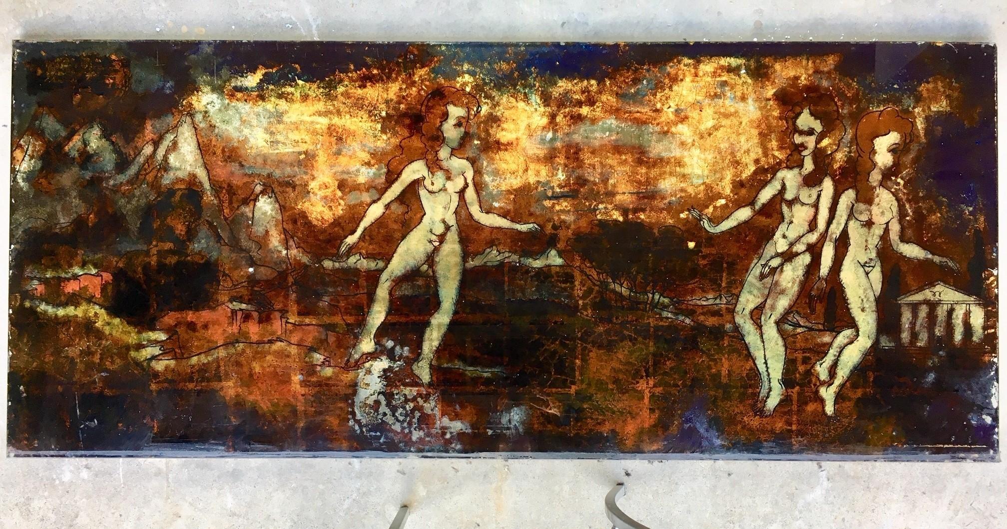 Vijf bijzondere achterglasschilderingen in metallic uit de jaren '70