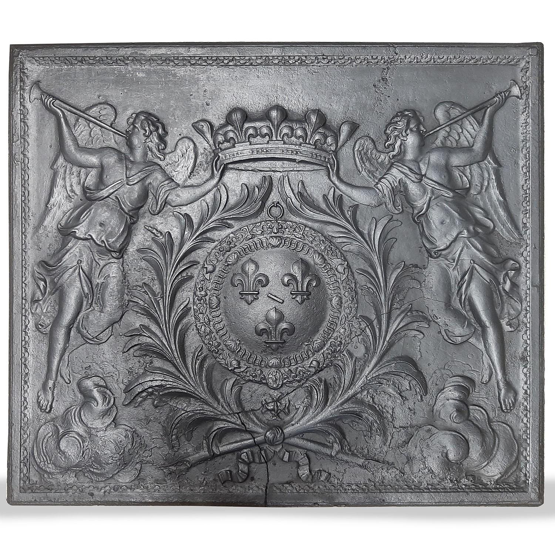 Antieke haardplaat met wapenschild van Bourbon