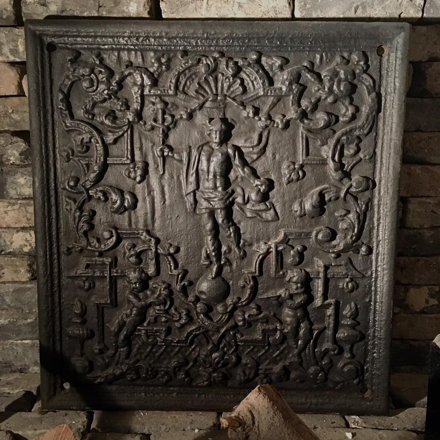 Antiek haardplaatje met voorstelling van Mercurius