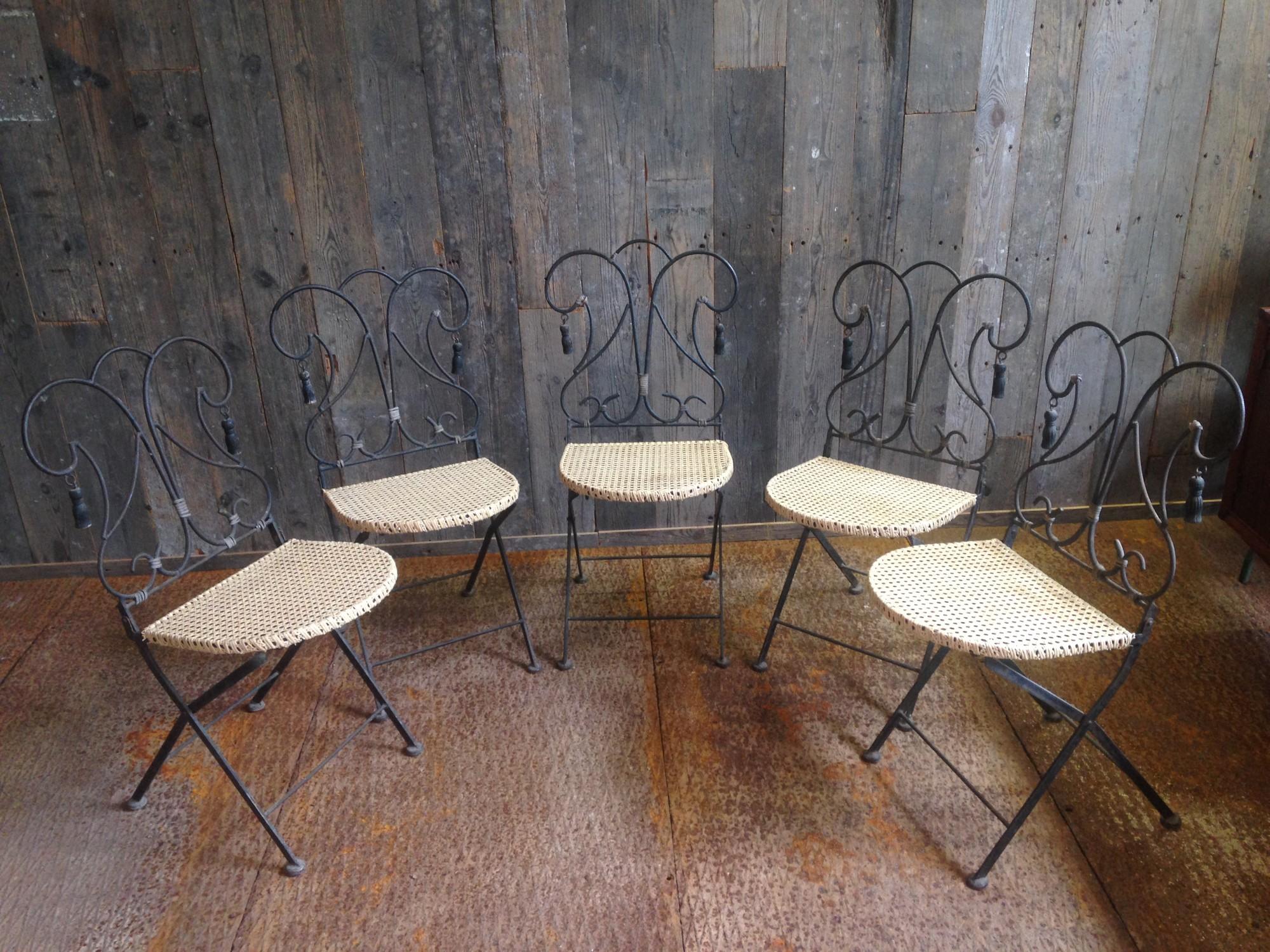 5 stuks sierlijke vintage klapstoelen