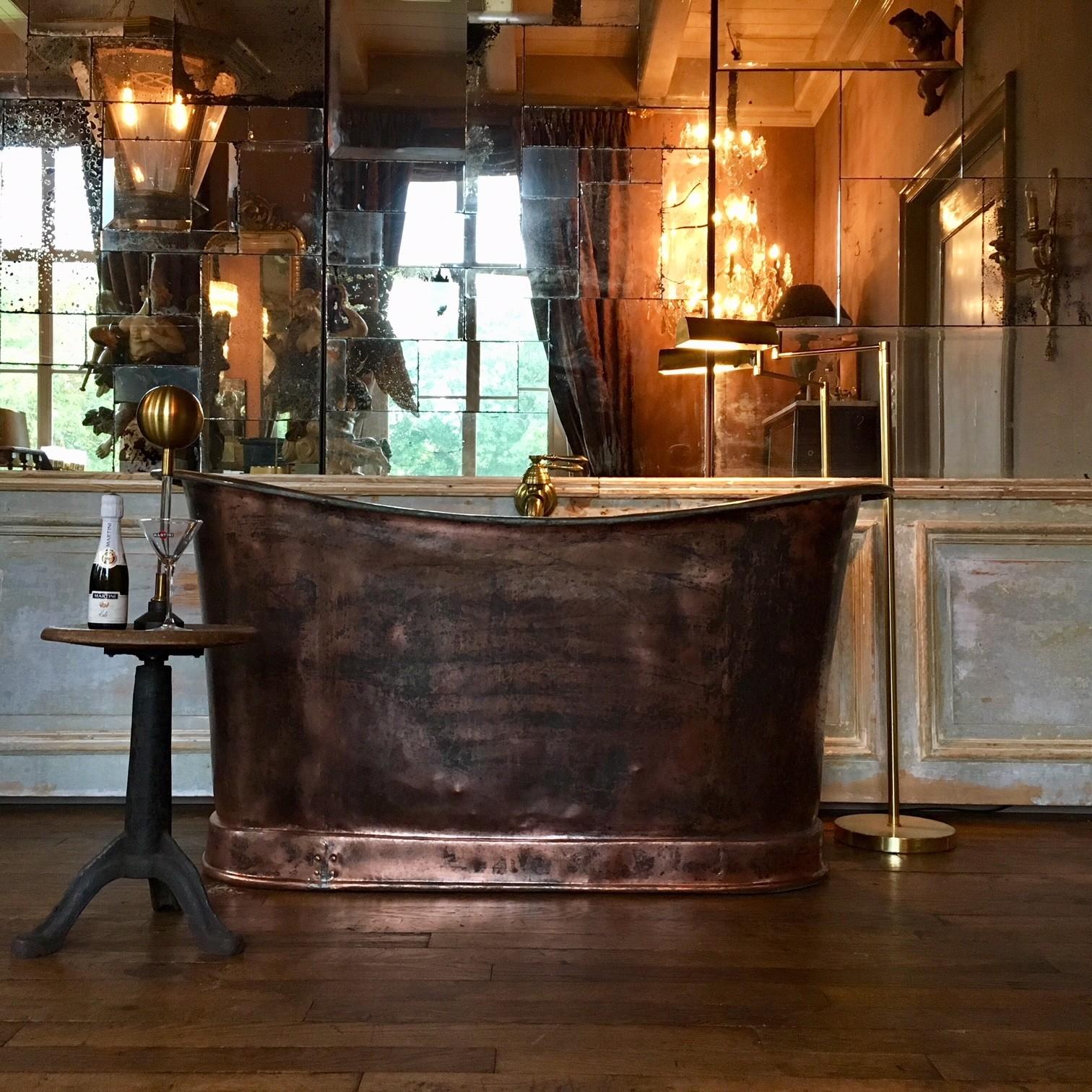 Prachtige vroeg 19de eeuwse koperen badkuip
