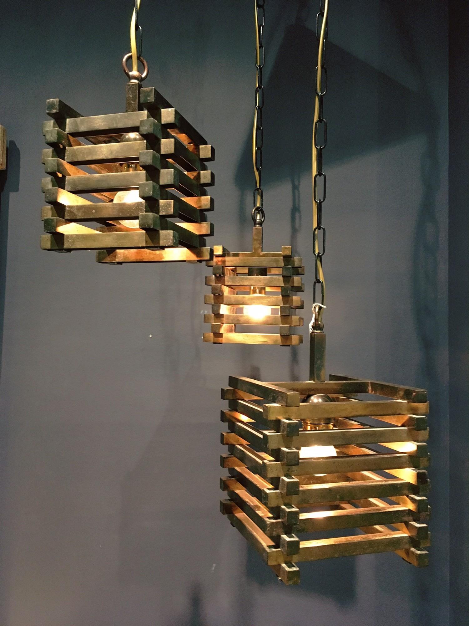 Jaren '70 messing hanglamp
