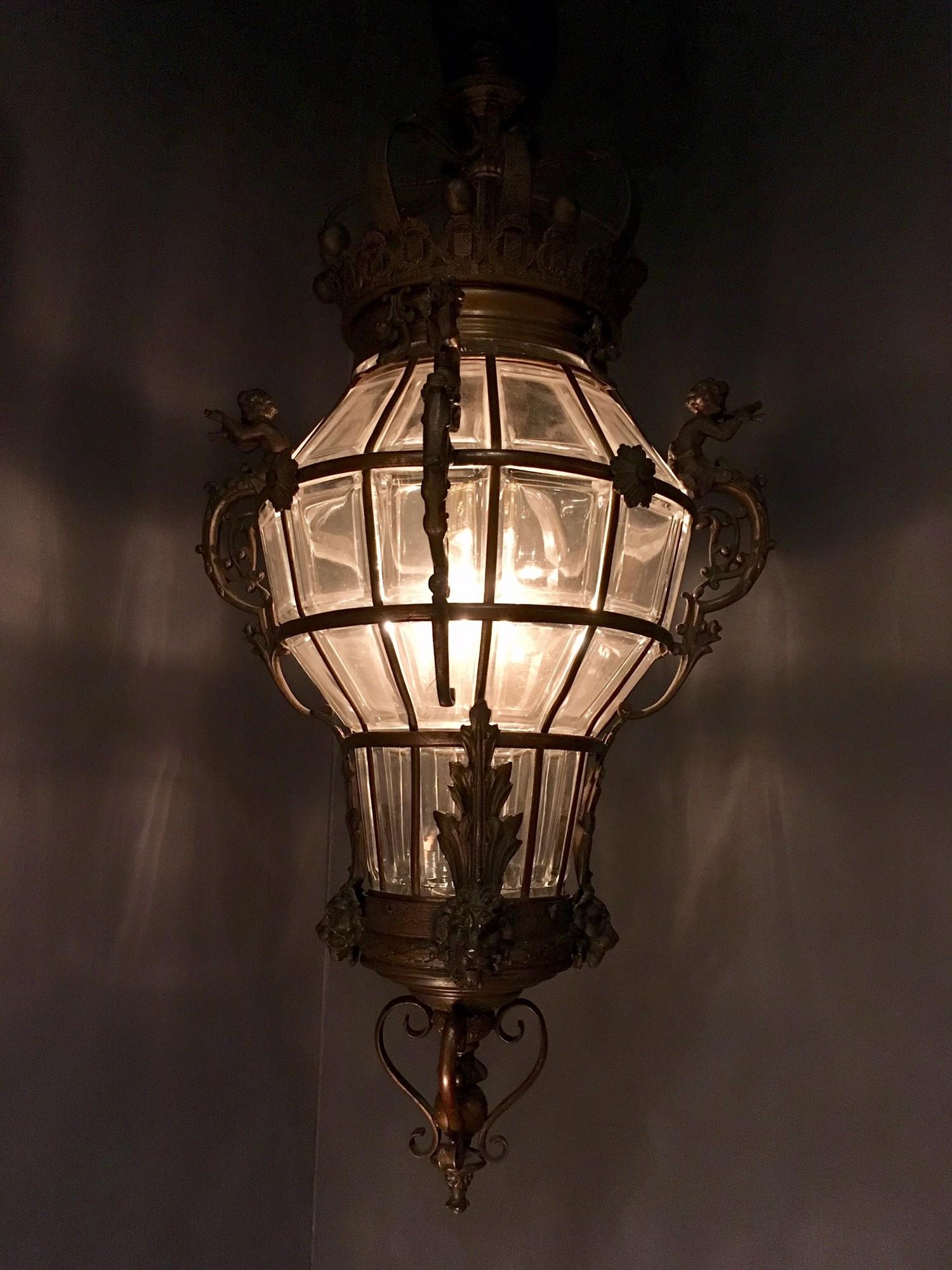 19de eeuwse rijkgedecoreerde bronzen lantaarn