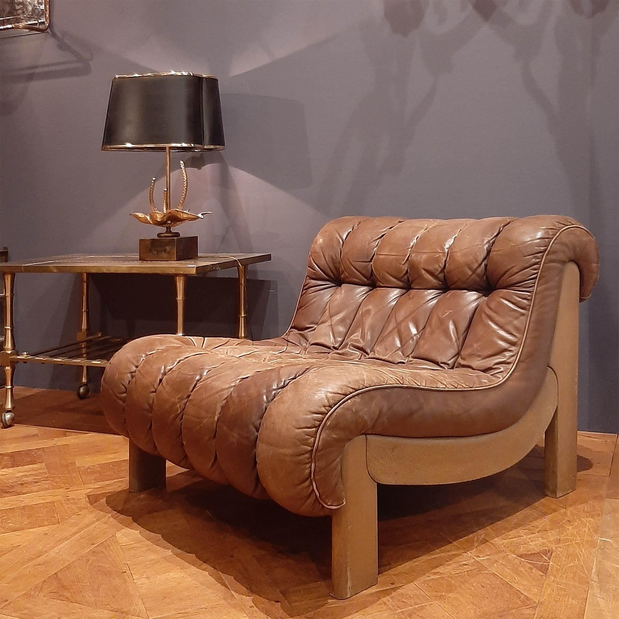 Lederen fauteuil in de stijl van De Sede