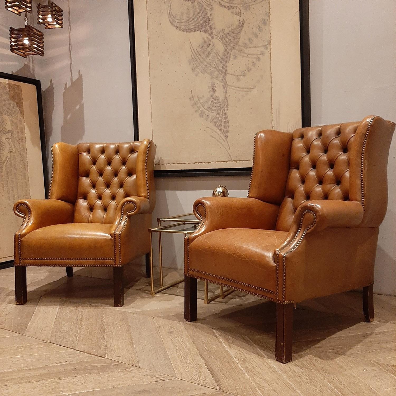 Gecapitonneerde Leren Bank.Paar Luxe Cognac Kleurige Lederen Vintage Fauteuils Piet Jonker