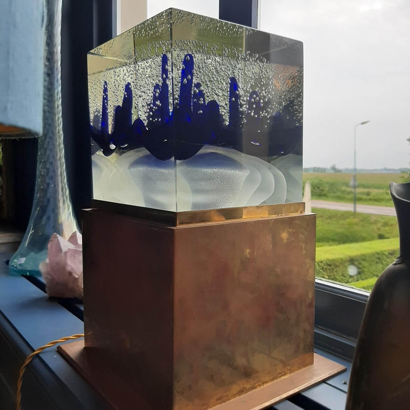 Murano design lamp in glas en koper