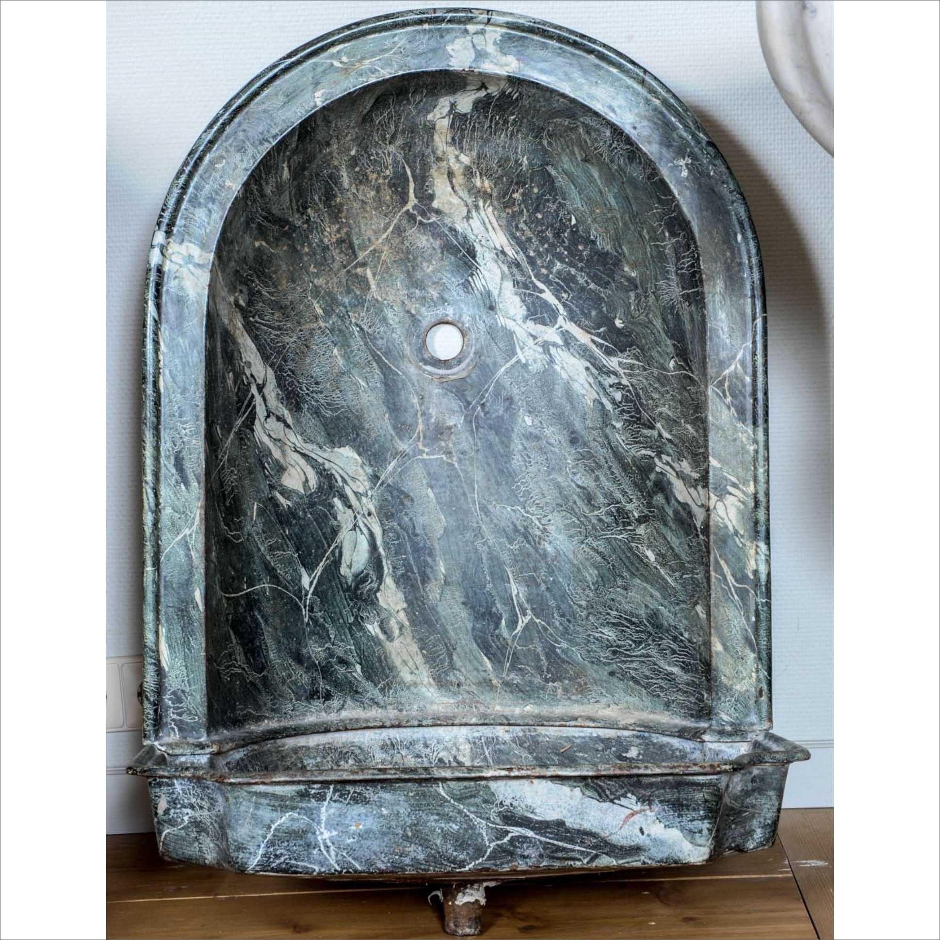 Gietijzeren gemarmerde (Faux Marble) wasbak