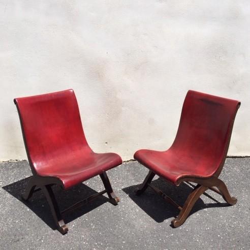 Stel rode Pierre Lottier Slipper chairs voor Valenti