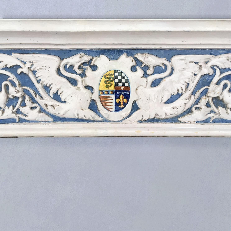 Cantagalli Open haard Della Robbia 19e-eeuws blauw en wit aardewerk