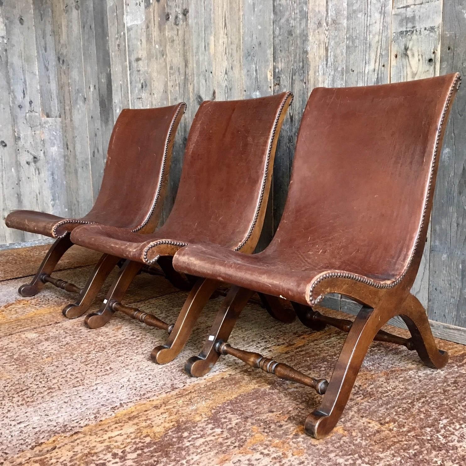 Slipper chairs Jaren '20 leren stoeltjes uit Spanje
