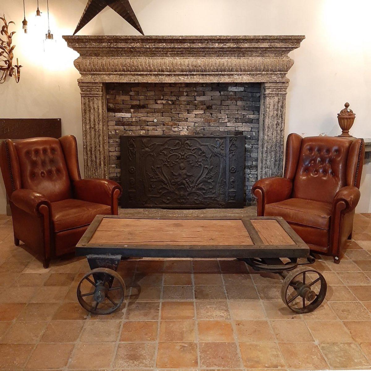 Verbazingwekkend Stel bruin leren oude fauteuils - Piet Jonker OW-65