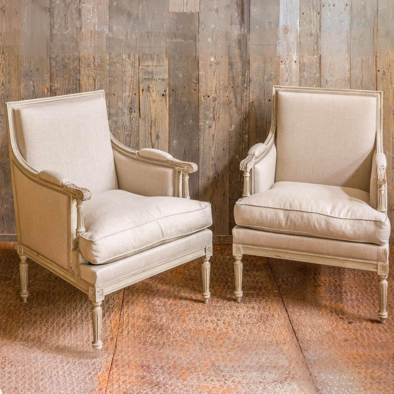 Stel grote 19e eeuwse gerestaureerde Bergères fauteuils