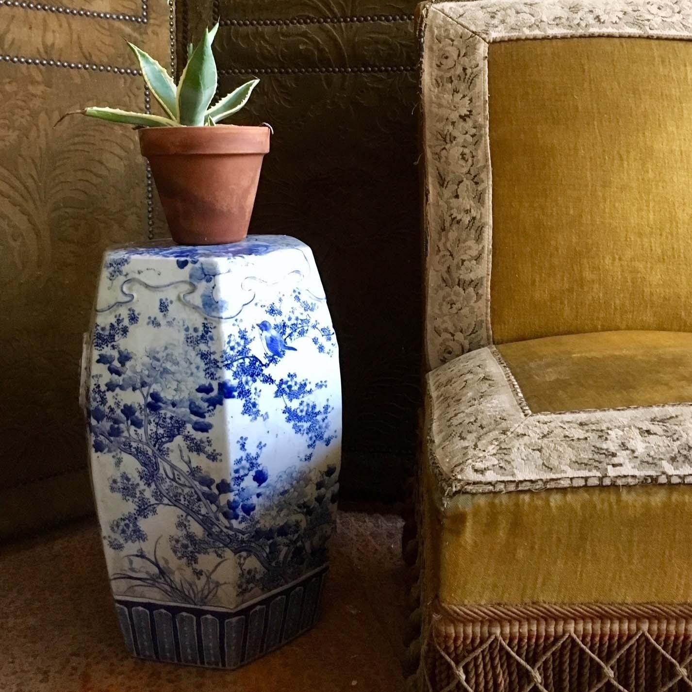 Vintage keramiek chinoiserie krukje (verkocht)