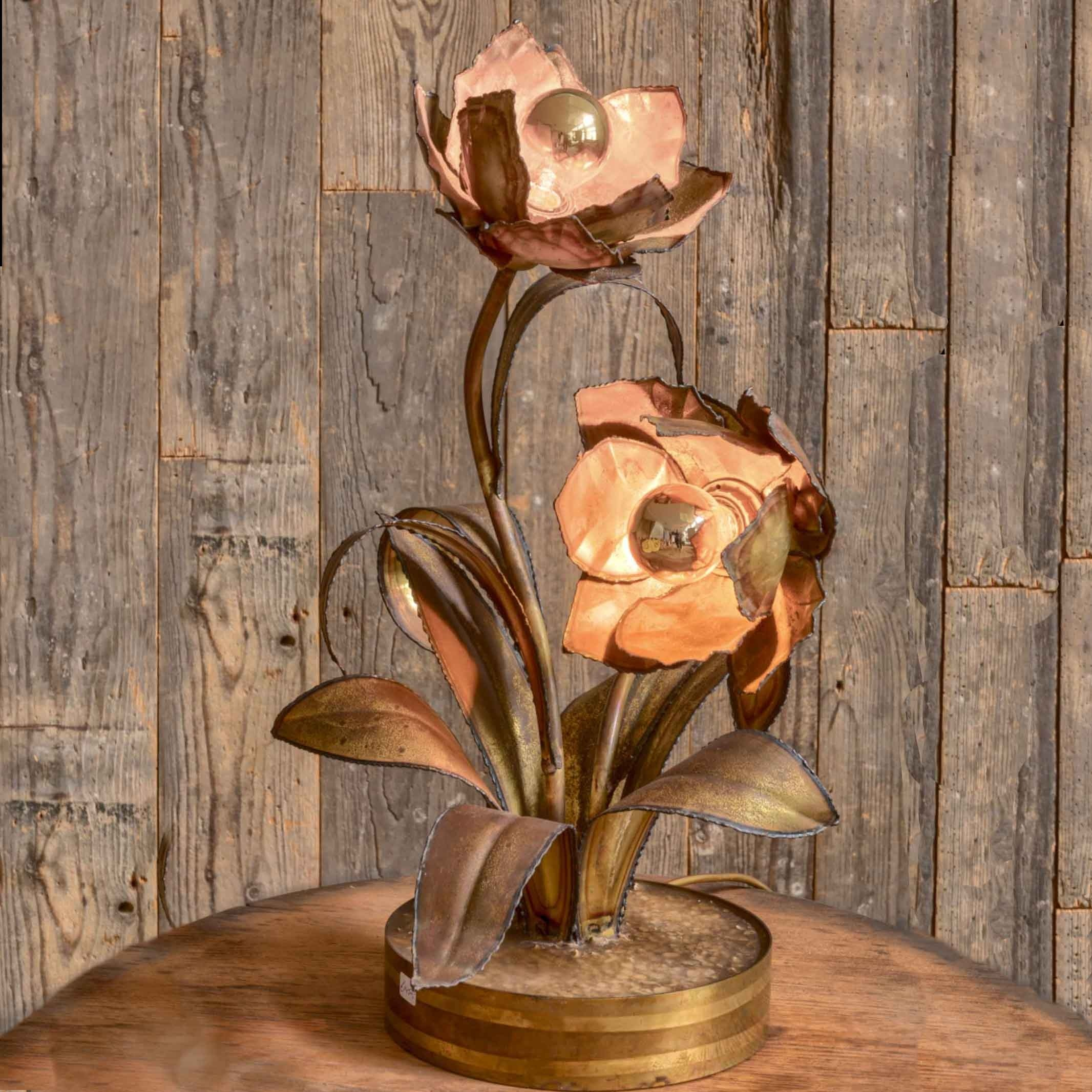 Vintage messing Maison Jansen rozenlamp
