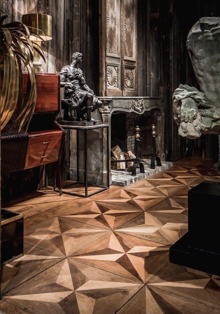 Italiaanse 19de-eeuwse parketvloer, panelen met stermotief