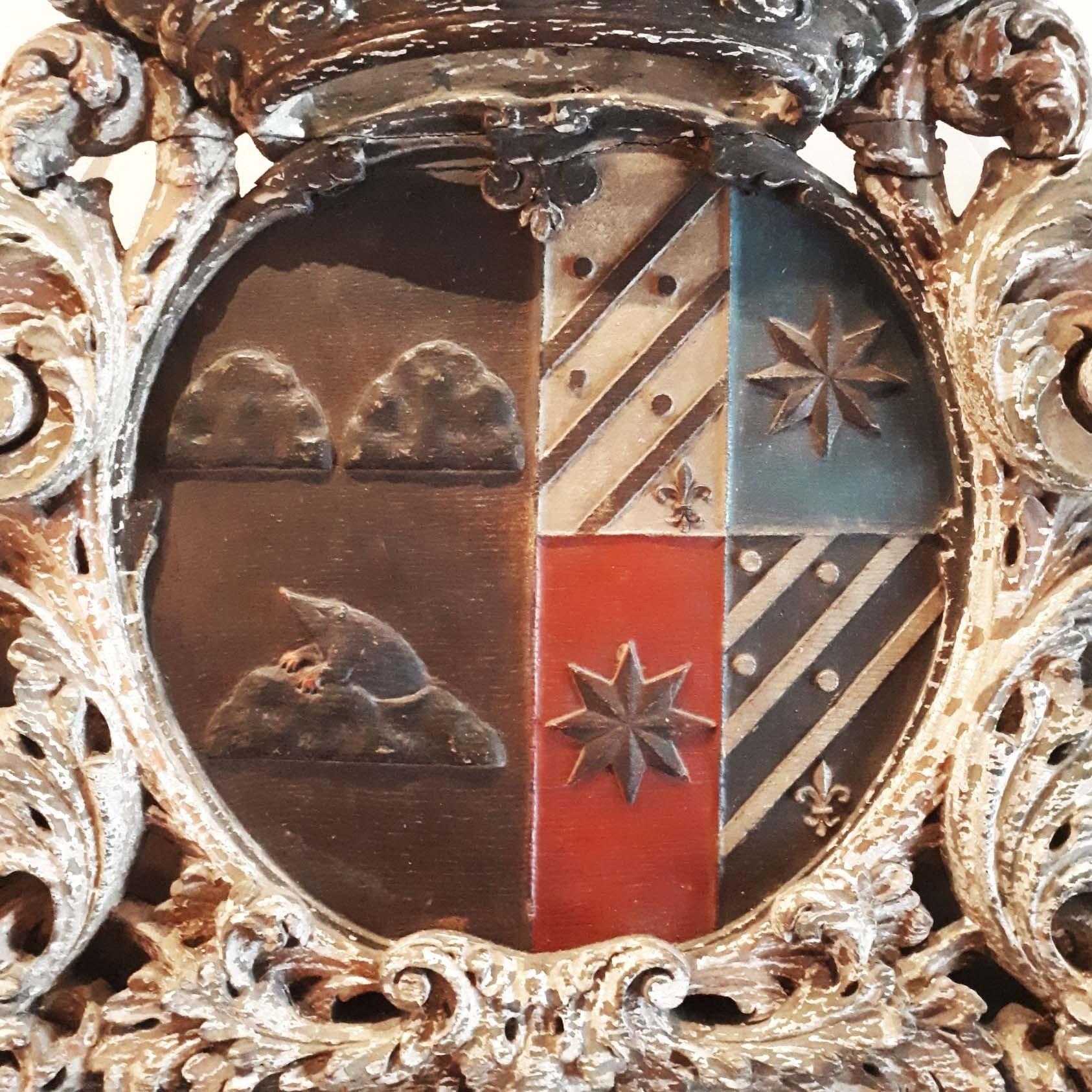Antiek rijk bewerkte hout gestoken wapenschild.