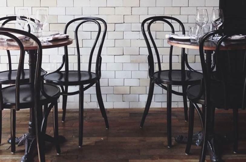 Brasserie/bistrotafels met koperen blad