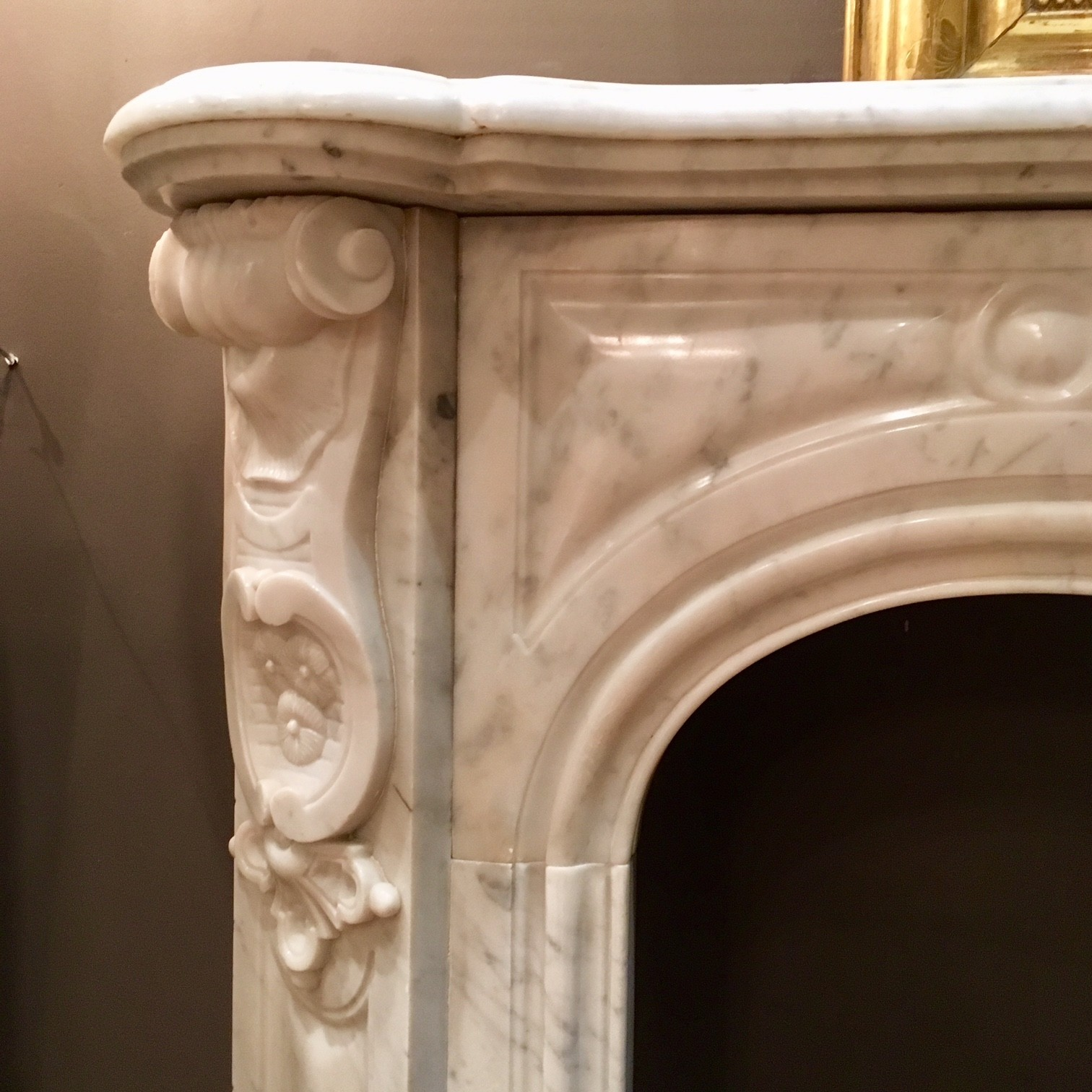 Antieke Franse marmeren schouw